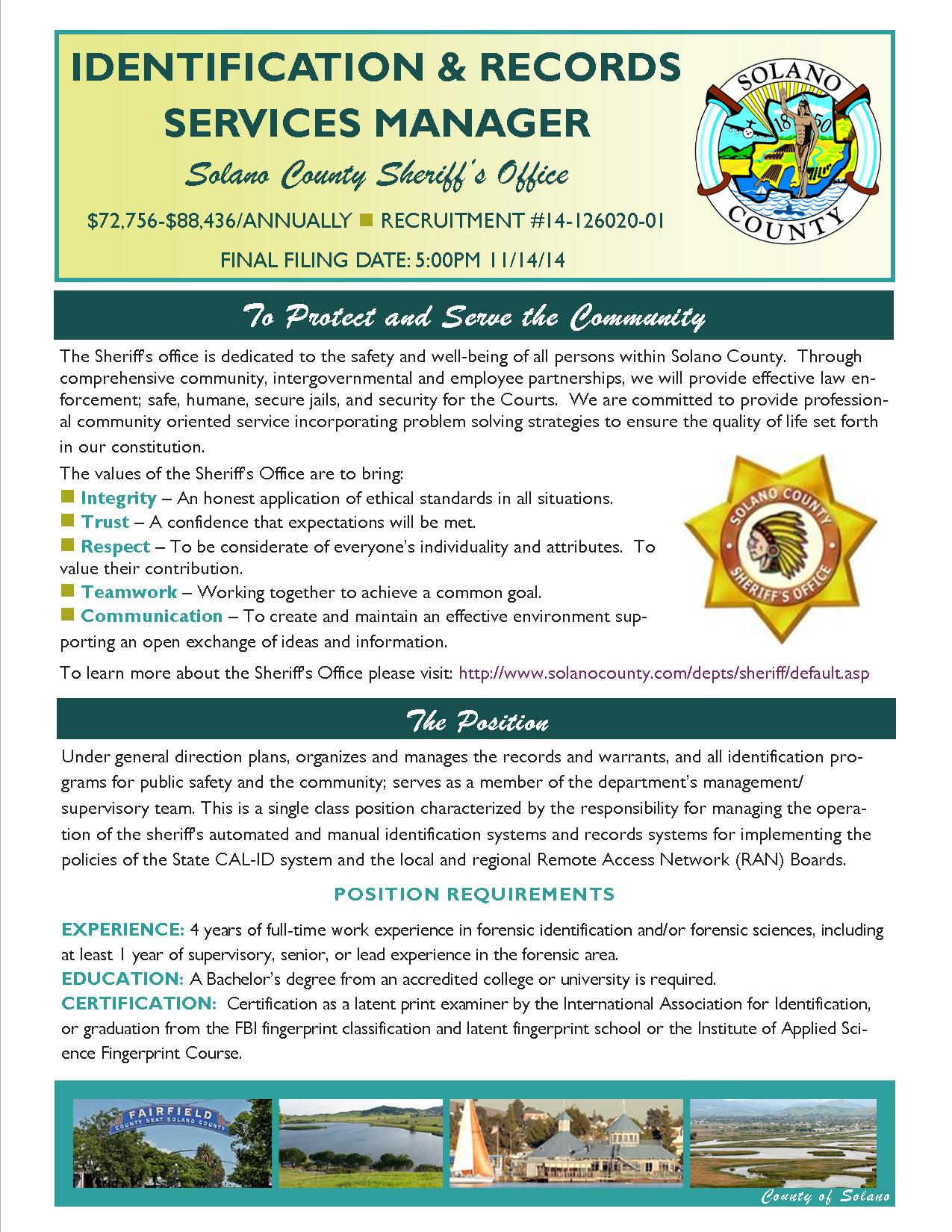 County Of Solano Job Announcement Identification Records
